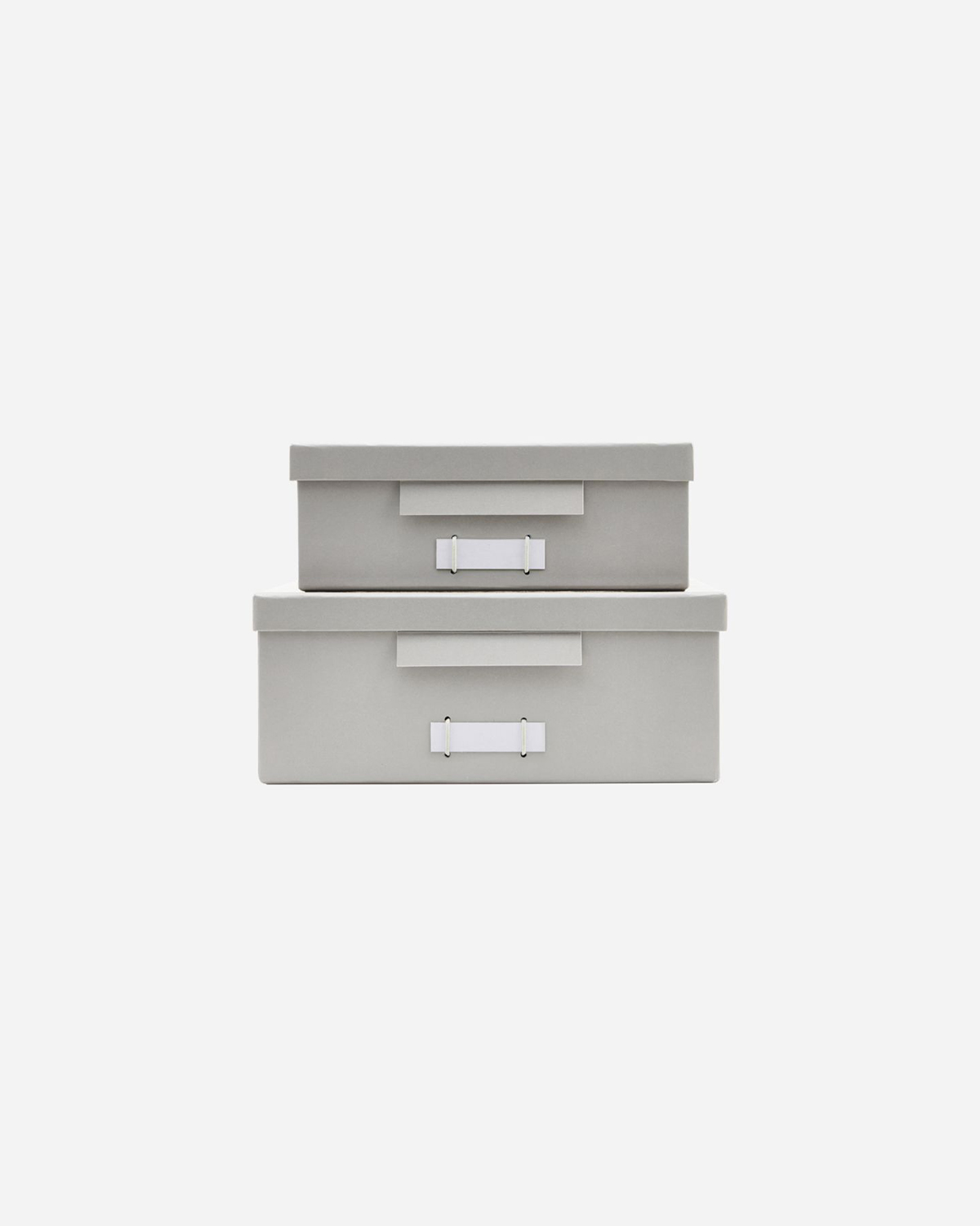 Boxes w. lids, File, Grey, Set of 2 sizes