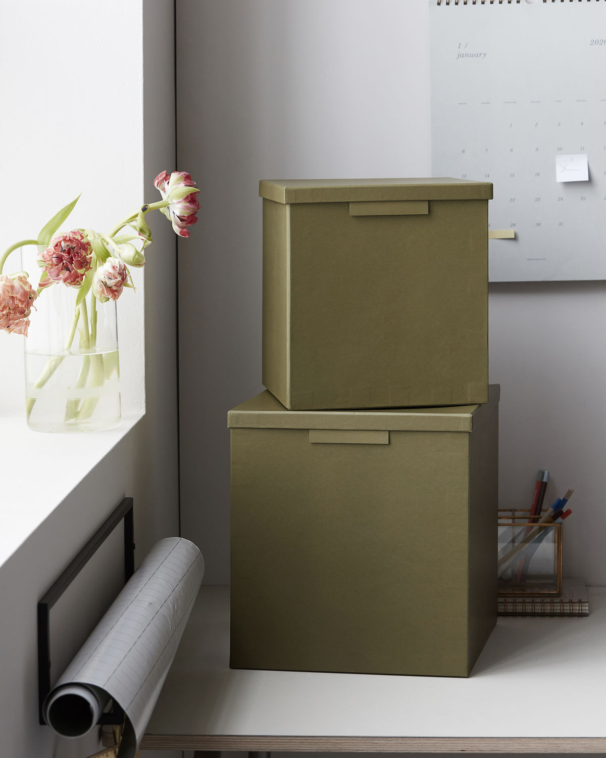 Boxes w. lids, File, Army green, Set of 2 sizes