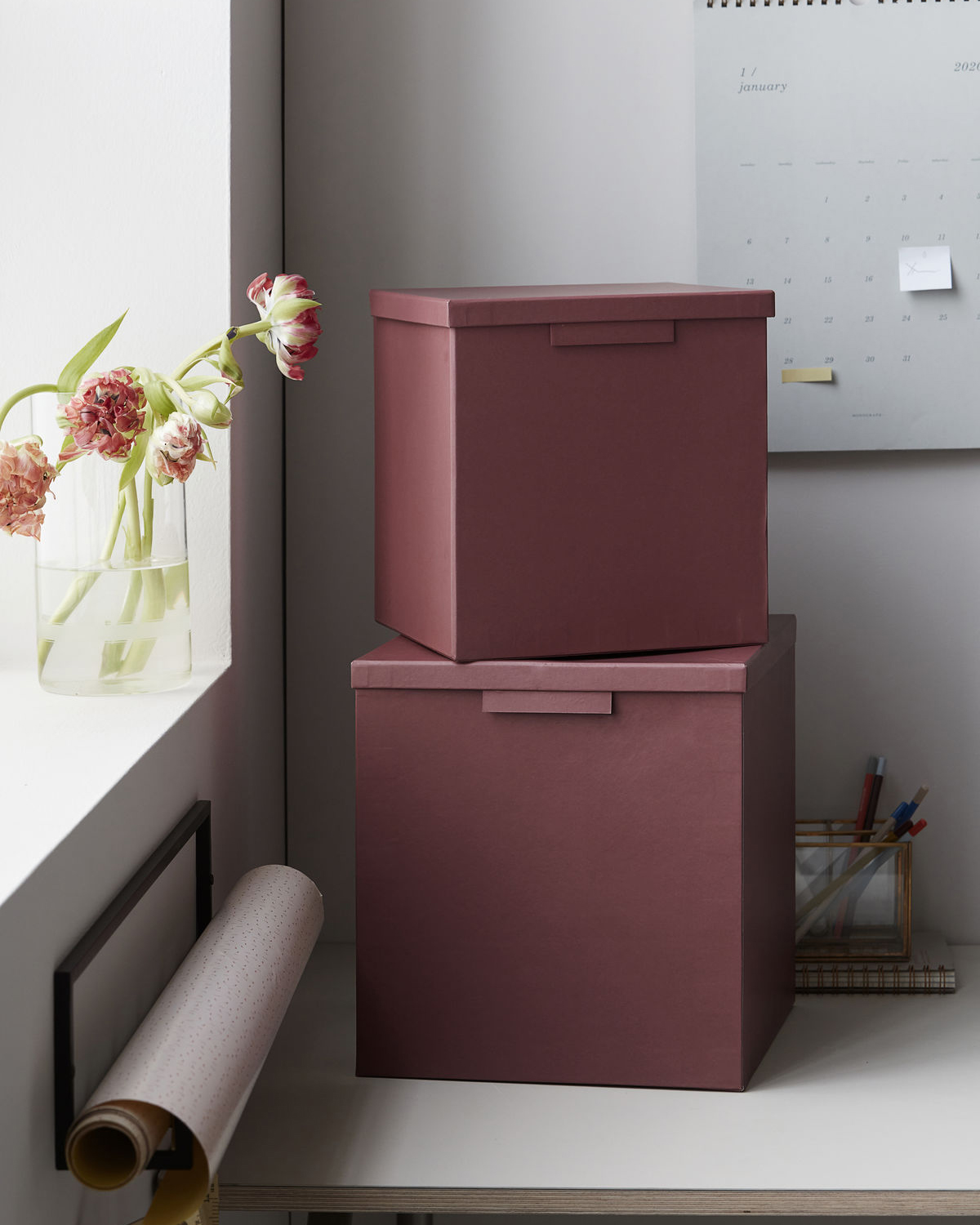 Boxes w. lids, File, Burgundy, Set of 2 sizes