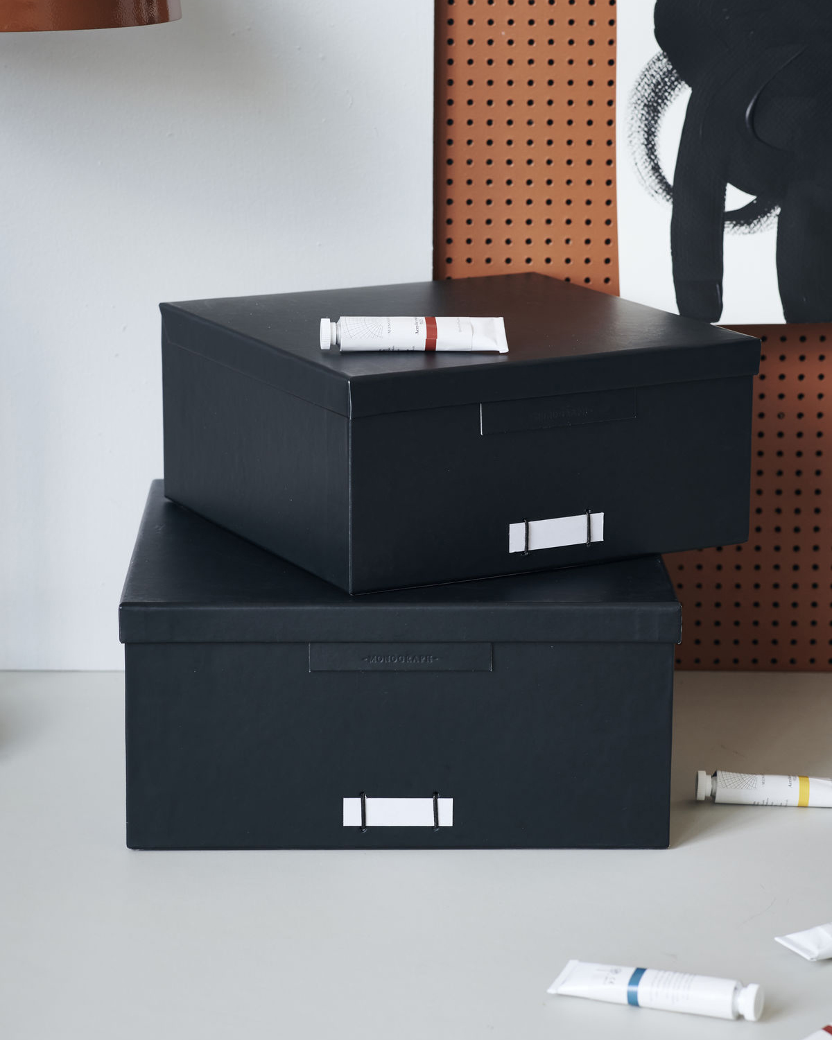 Boxes w. lids, File, Black, Set of 2 sizes